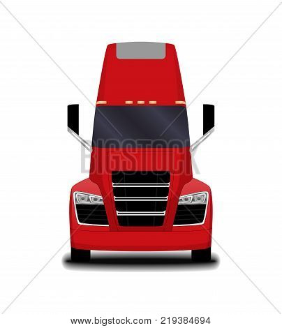 futuristic electric truck. front view. big red truck