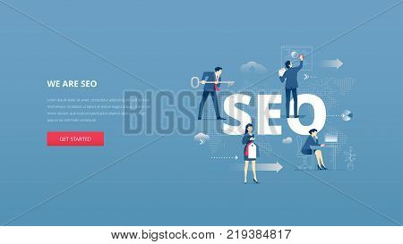 Vector illustrative hero banner of search engine optimisation. SEO hero website header with men and women business characters around word 'SEO' over digital world map