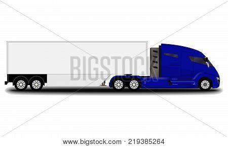 futuristic electric truck. side view. big blue truck