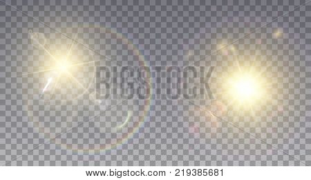 Two realistic lens flare effects on golden suns. Light particles and rainbow halo.