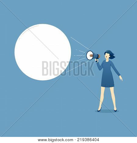 Vector illustration of business woman with megaphone shouting an advertise or marketing slogan.Template with space for text