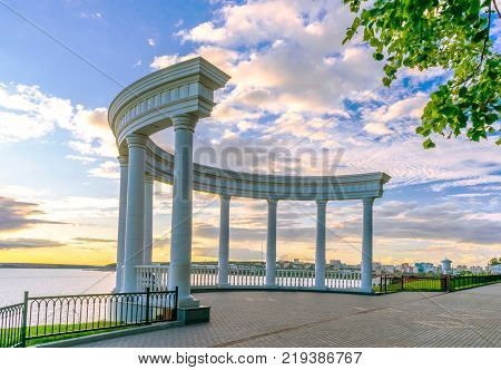Rotunda on the embankment on a warm evening before sunset. Izhevsk Russia