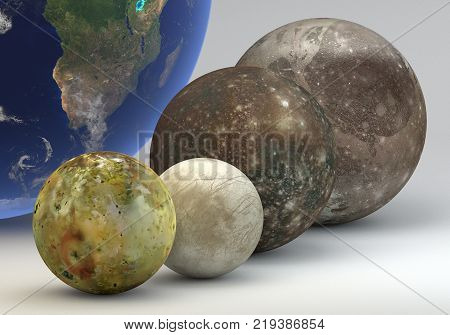 This image represents the comparison between the moons of Jupiter with the Earth in a precise scientific design