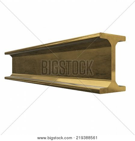Gold metallurgy I-beam profile 3d render isolated on white background poster