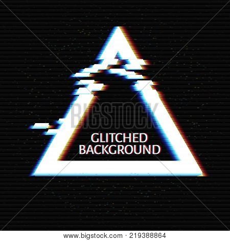 Glitched Triangle Frame Design. Distorted Glitch Style Modern Background. Glow Design for Graphic Design - Banner, Poster, Flyer, Brochure, Card. Vector Illustration.