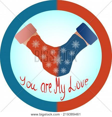 The concept of love and relationship is one mittens for two. Red and blue mittens for two as a symbol of hetero-relationships, sympathy for men and women. Inscription you are my love