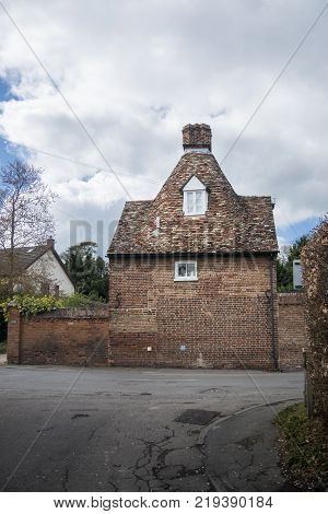 Side view of a brick build cottage in the village of Foxton Cambridgeshire UK