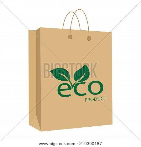 Blank Paper Bag Eco Product. Paper Bag with leaf. Bag of kraft paper. Vector illustration