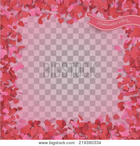 Heart confetti of Valentines petals falling on transparent background. Valentines Day background of red hearts petals falling. Decor element for greeting cards. Transparent vector effect