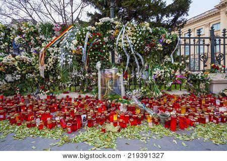 Bucharest, Romania - December 15, 2017: Candles in front of Carol Palace oposit the Art Institut Foundation with the occasion of Romanian King Mihai de Hohenzollern funeral