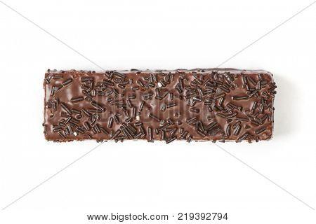 Waffle cake in chocolate glaze isolated on white background