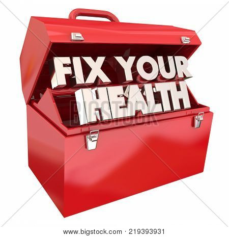 Fix Your Health Toolbox Resources Improve Wellness 3d Illustration