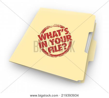 Whats in Your File Documents History Records Folder 3d Illustration