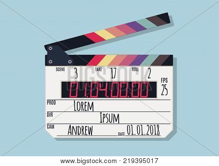 Clapper board isolated on blue background. Clapper board with LED display filmmaking device. Vector illustration