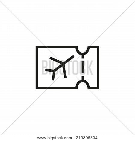 Line icon of plane ticket. Flight, ticket control, air ticket office. Transport and travel concept. Can be used for web pictograms, design and application icons