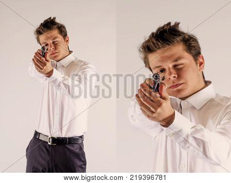 Collage. One caucasian spy criminal policeman detective man holding gun portrait silhouette in studio isolated white background.