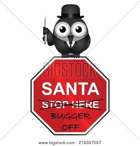 Comical representation that the Christmas holidays are not enjoyed by everyone isolated on white background