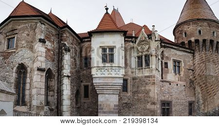 Towers of the Corvin Castle also known as Castelul Corvinilor is a Gothic-Renaissance castle in Hunedoara, Romania.