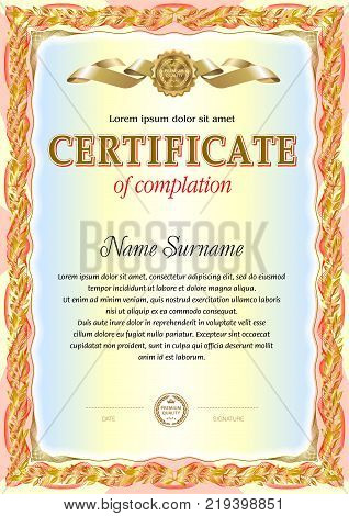 Vintage certificate blank template. Colorful design with hard floral elements around text area. It can be use for official award or honored papers