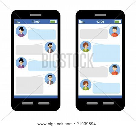 Messenger concept. Correspondence in SMS. Messages in a messenger Blank template. Chat window. Vector.