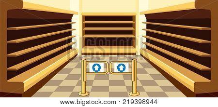 Empty shelves of a supermarket. Show-windows. Interior of shop. Vector
