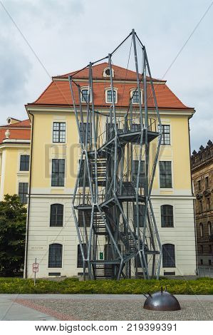 Dresden, Germany - September 22, 2013: Neo-Classicist facade of the Bundeswehr Military History Museum in Dresden.