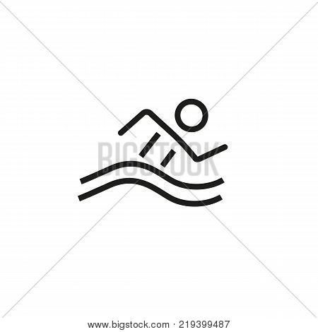 Line icon of swimming man. Swimming pool, swimming competition, beach. Sport concept. Can be used for topics like Olympic games, summer resort, leisure