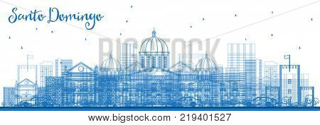 Outline Santo Domingo Dominican Republic City Skyline with Blue Buildings. Business Travel and Tourism Concept with Historic Architecture. Santo Domingo Cityscape with Landmarks.