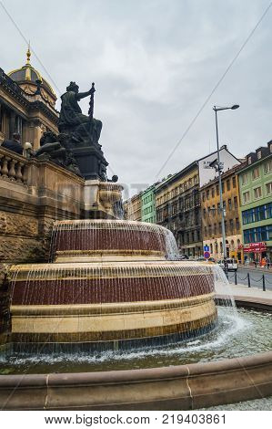 Fountain on Wenceslas Square in Prague, Czech Republic - 21 September 2013.