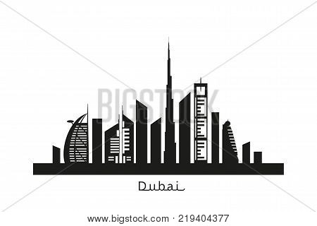 Dubai cityscape with skyscrapers and landmarks black silhouette vector illustration