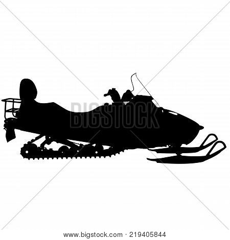 Silhouette snowmobile  on white background. Vector illustration.