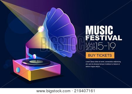 Vector Music Jazz Festival, Glowing Neon Poster Or Banner Background. Colorful 3D Style Musical Viny