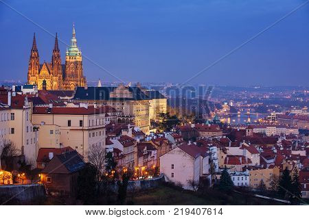 Hradcany with Prague castle during twilightm, Prague, Czech Republic