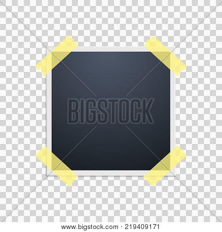 Photo frame on a transparent background. Yellow scotch tape. Vector illustration.