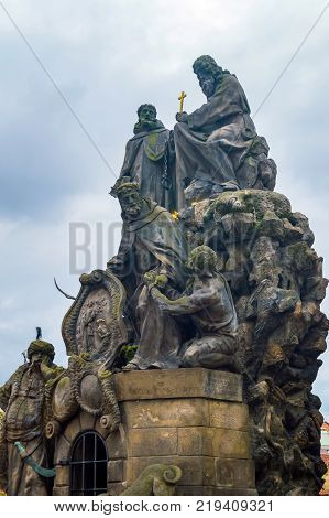 Czech, Prague, gothic sculpture of the Cyril and Methodius on the Charles bridge. Prague, medieval art, statue of Saint on the bridge of King Charles