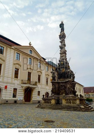 Plague column in Kutna Hora, Czech Republic. The city is protected by UNESCO