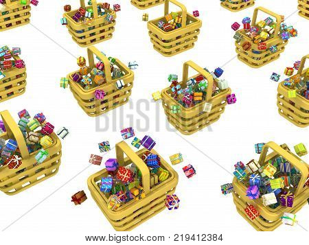 Gift large group in shopping baskets 3d illustration horizontal isolated over white