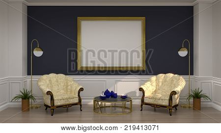 mock up golden photo frame and two armchairs in luxury empty room 3D rendering reception room Classic style for copy space