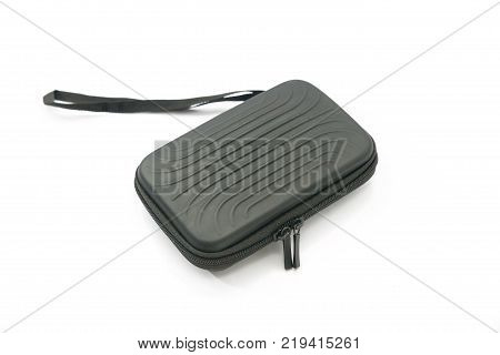 black protection bag with zipper isolated on white