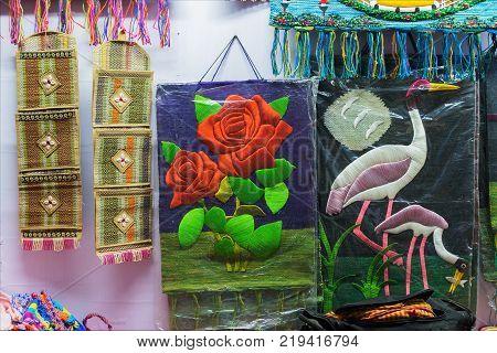 KOLKATA WEST BENGAL INDIA - DECEMBER 3RD 2016 : Artworks made of various artists handicrafts on display during the Handicraft Fair in Kolkata - the biggest handicrafts fair in Asia.