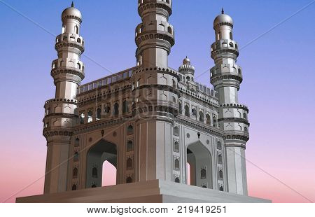 Indian Monument of Charminar Hyderabad 3d architecture 400 years old