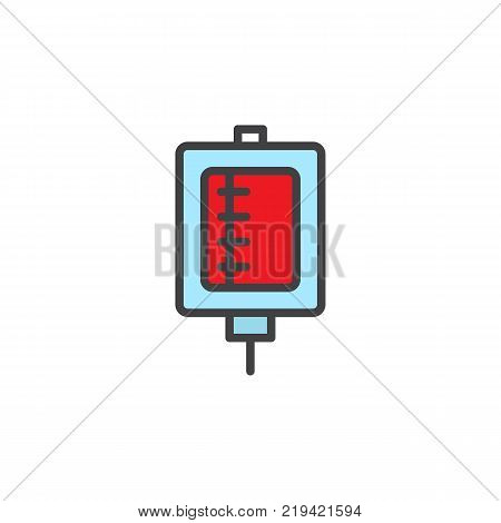 Blood transfusion filled outline icon, line vector sign, linear colorful pictogram isolated on white. Medical drop counter symbol, logo illustration. Pixel perfect vector graphics