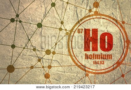 Holmium chemical element. Sign with atomic number and atomic weight. Chemical element of periodic table. Molecule And Communication Background. Connected lines with dots.
