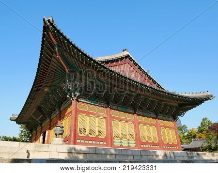 Junghwajeon main hall of Deoksugung Palace. Seoul South Korea. Deoksugung Palace which is one of beautiful palace in South Korea