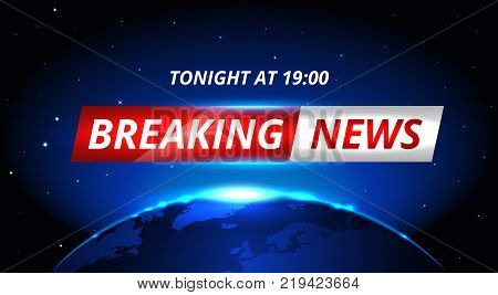 Breaking News Live background banner with shining planet in space . Business or Technology News Background. Vector stock Illustration. EPS 10