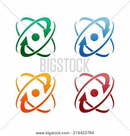 Abstract logo for business company. Corporate identity design element. Infinity atom energy, orbit connect, nuclear reactor core, nuclear logotype idea. integrated molecule concept. Color Vector icon.eps 8.eps 10