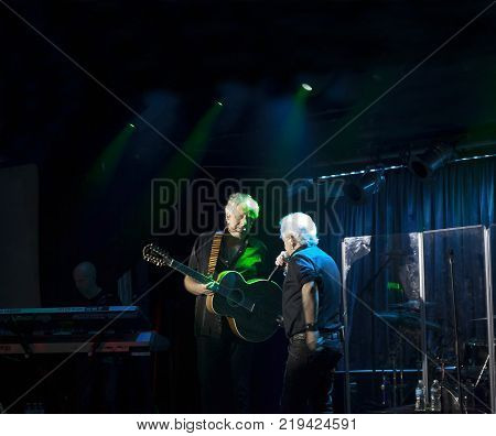 NEW YORK NEW YORK USA - OCTOBER 13: Lead singer Russell Hitchcock andGraham Russell of Air Supply performs at B.B. Kings blues club and grill. Taken October 13 2017 in New York.