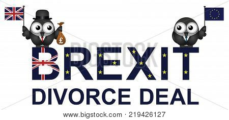 Comical representation of the Brexit divorce deal agreement with the United Kingdom paying fifty billion pounds to the European Union following the 2016 referendum to leave the EU