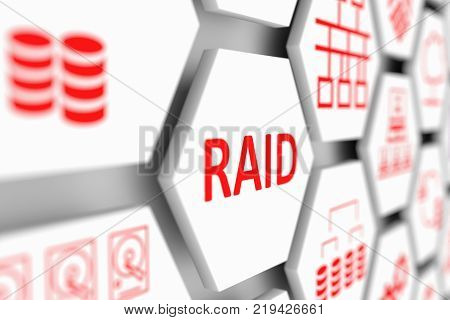 RAID concept cell blurred background 3d illustration