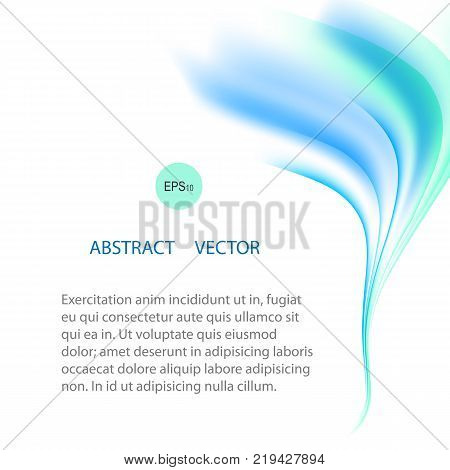 Vector abstract air background. Blue and white waves